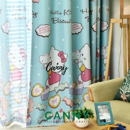 HELLO KITTY CURTAIN HIGH QUALITY FABRIC FRENCH PLEATED AND RING (SIZE 270CM X 150XM )