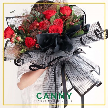 20 PCS CHECKERS FLOWER WRAPPING PLASTIC WATERPROOF WP - F006