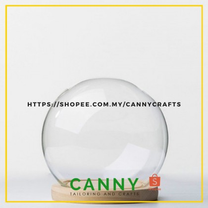 GLASS ROUND DOME WITH WOODEN BASE (1PCS)