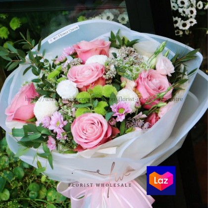 20 PCS ROUND SHAPE FLOWER WRAPPING WITH RIM (BM00023)